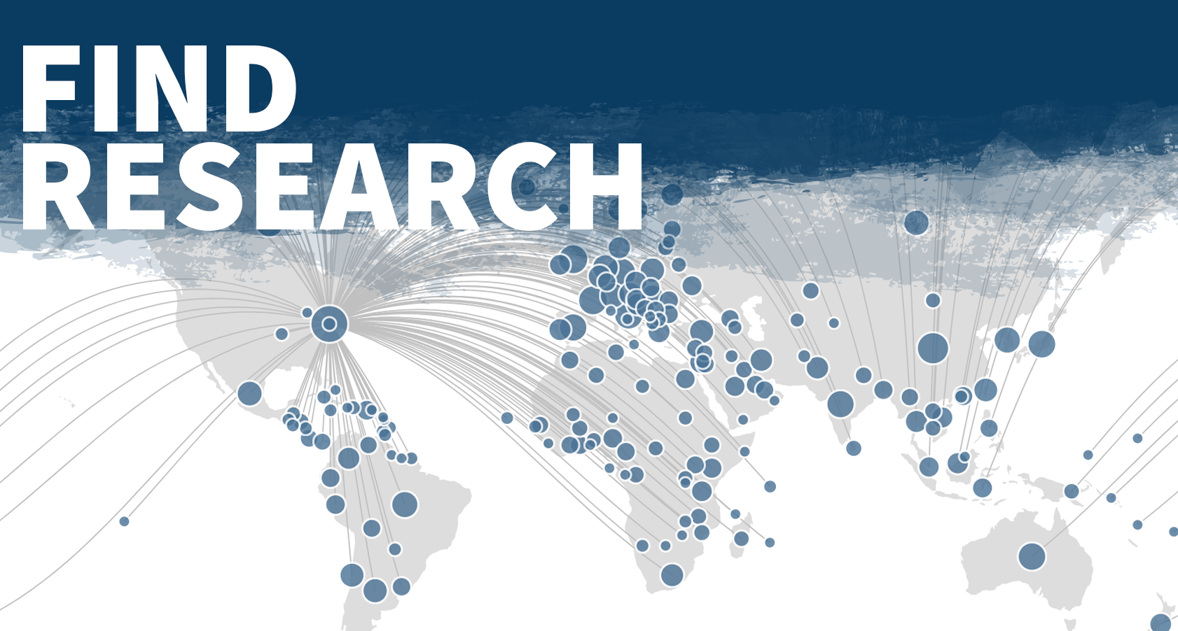 FIND RESEARCH: An image of a global map showing dots with locations of Penn State Research collaboration.