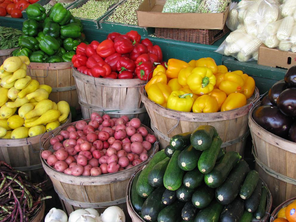 Bushels of fresh fruits and vegetables.