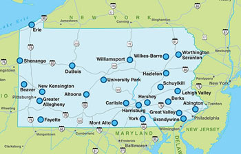 A map of Penn State Commonwealth campuses.