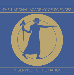 The National Academy logo, a woman with a staph