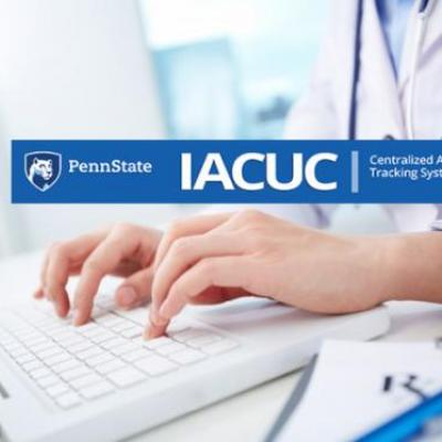 Image of researcher typing with CATS IACUC system banner over top