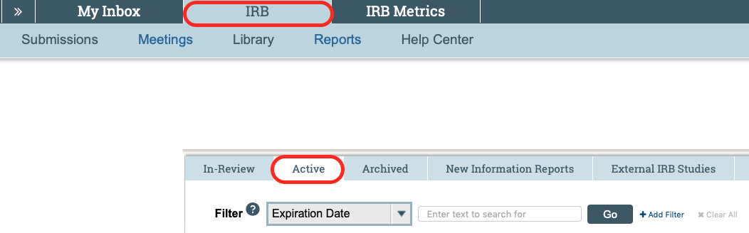 Picture of Continuing Review in the IRB Active Submissions tab