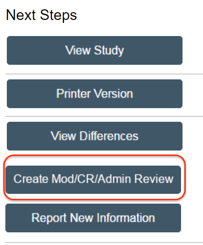 Picture of button to create a modification, continuing review and administrative review
