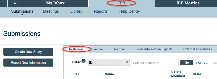 Picture of the In-Review tab in CATS IRB