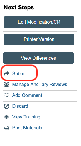 Next Steps menu with Submit button for modification highlighted
