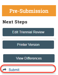 Picture of Next Steps menu with submit button